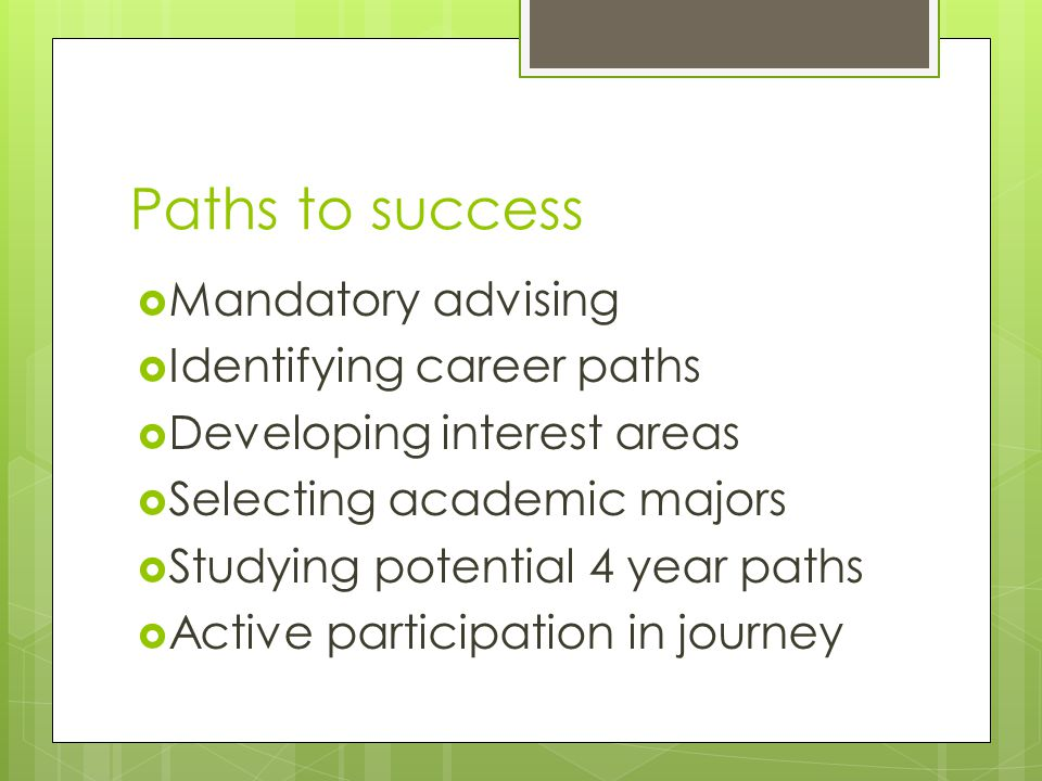 Paths to success  Mandatory advising  Identifying career paths  Developing interest areas  Selecting academic majors  Studying potential 4 year paths  Active participation in journey