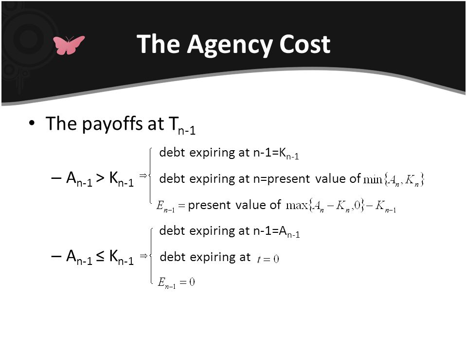 The Agency Cost The payoffs at T n-1 debt expiring at n-1=K n-1 – A n-1 > K n-1 debt expiring at n=present value of present value of debt expiring at n-1=A n-1 – A n-1 ≤ K n-1 debt expiring at