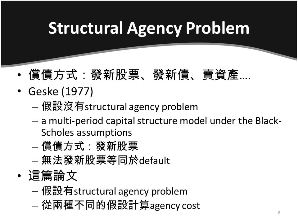 Structural Agency Problem Figure 3: Default Difference and the Cause of Agency Problem 17 186 150100 Using the Geske Model (1977)