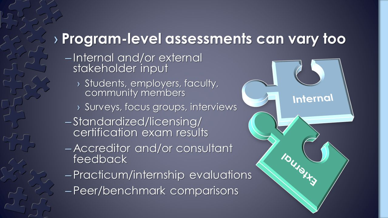 –Internal and/or external stakeholder input ›Students, employers, faculty, community members ›Surveys, focus groups, interviews –Standardized/licensing/ certification exam results –Accreditor and/or consultant feedback –Practicum/internship evaluations –Peer/benchmark comparisons › Program-level assessments can vary too