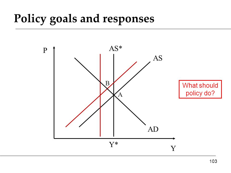 Policy goals and responses Y P AS* AS 103 Y* AD A B What should policy do