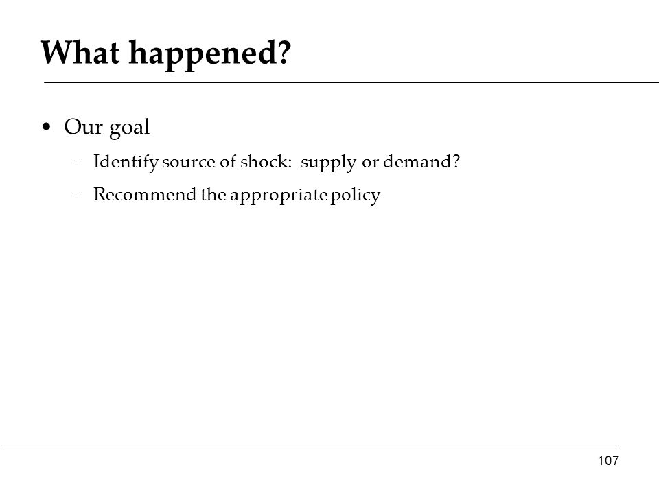 Our goal –Identify source of shock: supply or demand –Recommend the appropriate policy 107