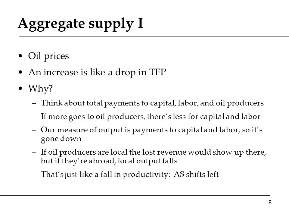 Aggregate supply I Oil prices An increase is like a drop in TFP Why.