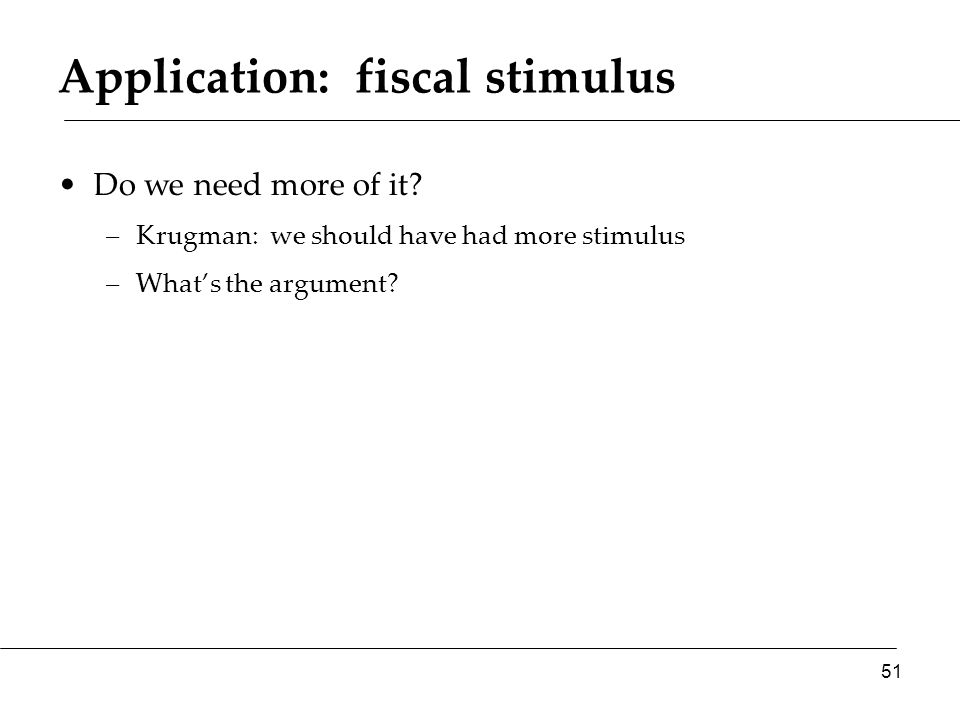 Application: fiscal stimulus Do we need more of it.