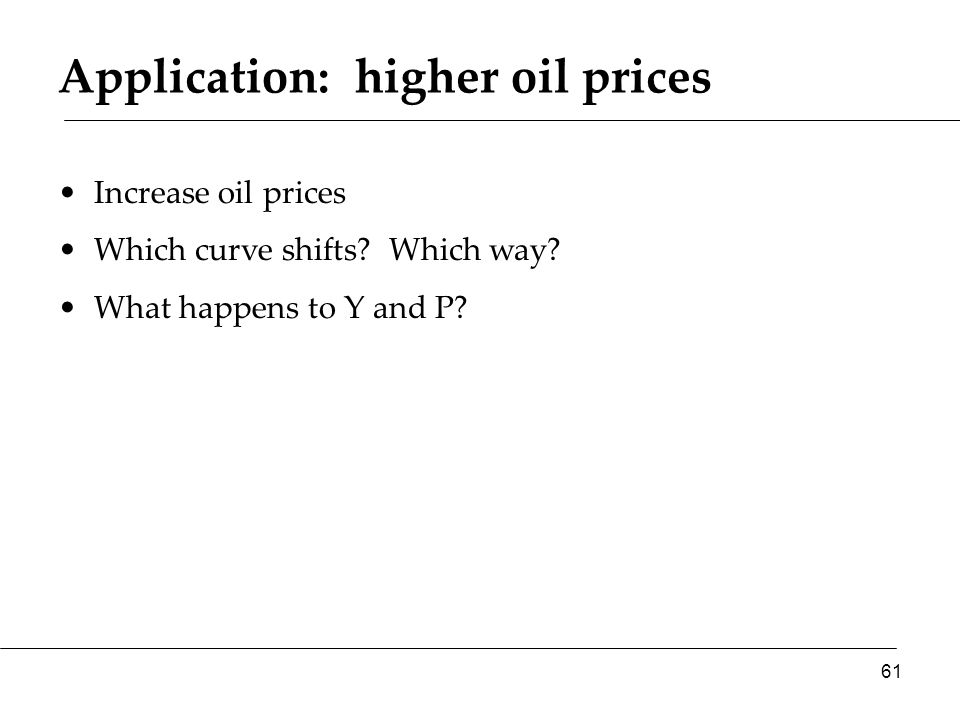 Application: higher oil prices Increase oil prices Which curve shifts.