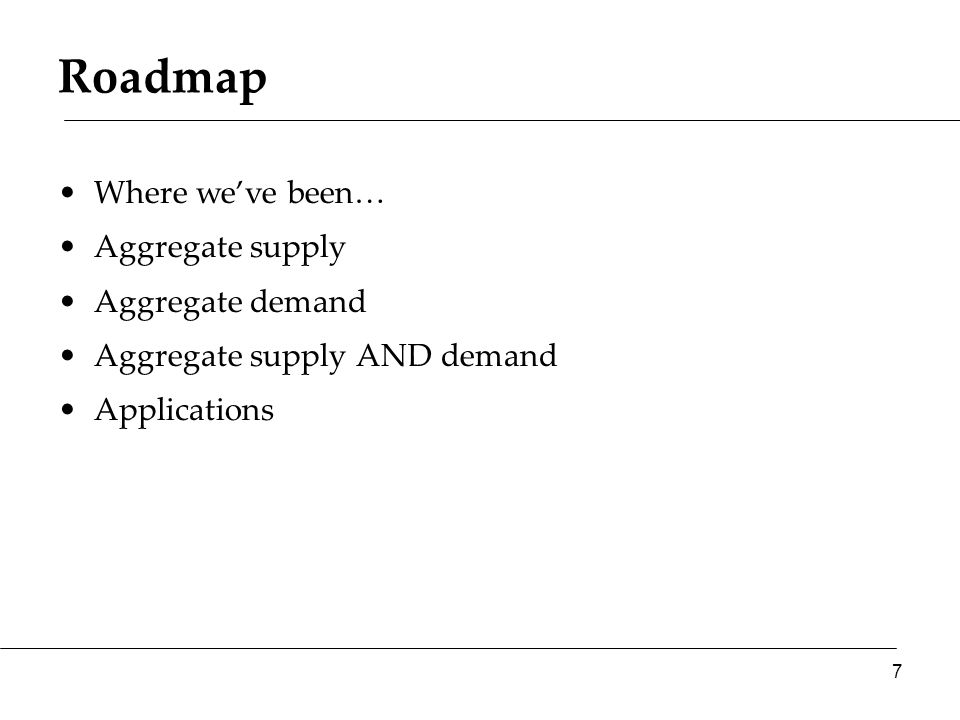 Roadmap Where we've been… Aggregate supply Aggregate demand Aggregate supply AND demand Applications 7