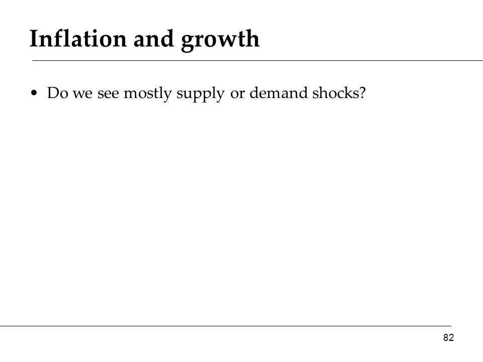Inflation and growth Do we see mostly supply or demand shocks 82