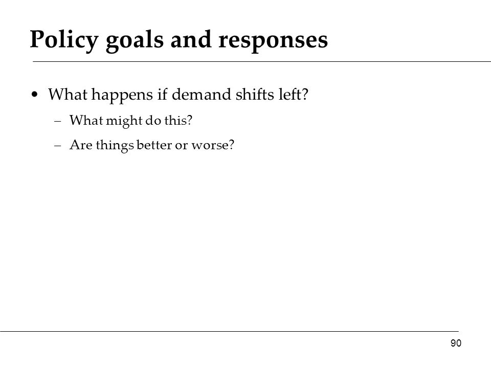 Policy goals and responses What happens if demand shifts left.