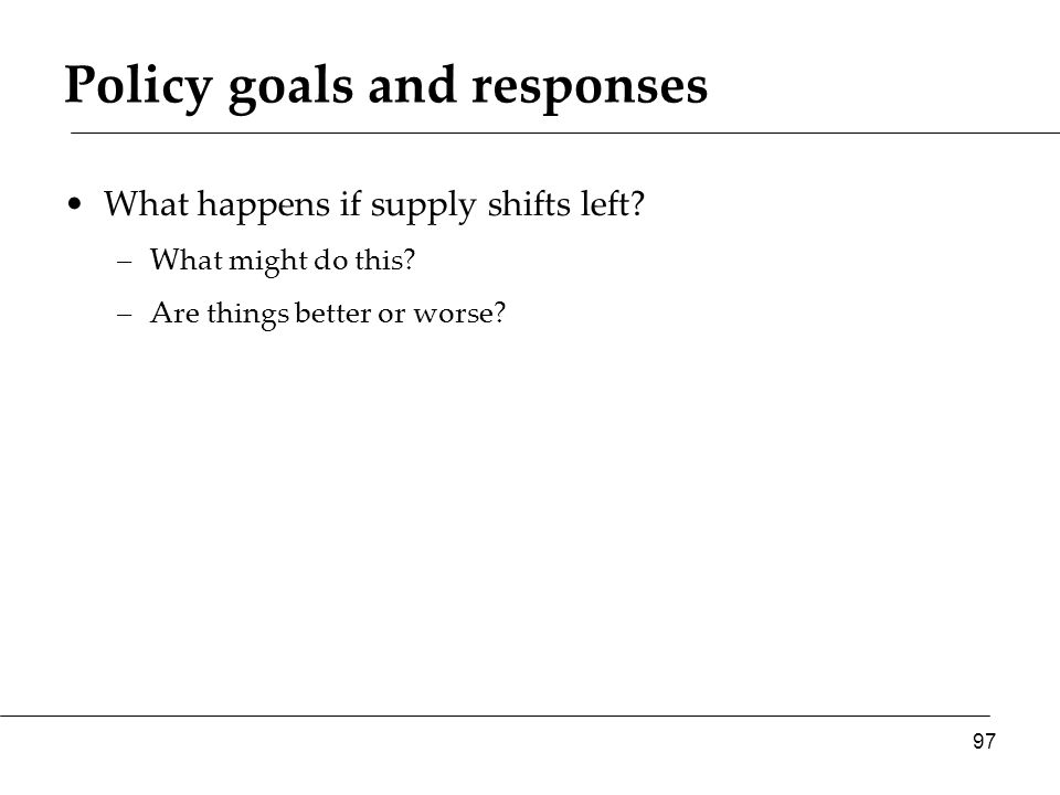 Policy goals and responses What happens if supply shifts left.