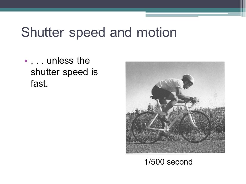 Shutter speed and motion... unless the shutter speed is fast. 1/500 second