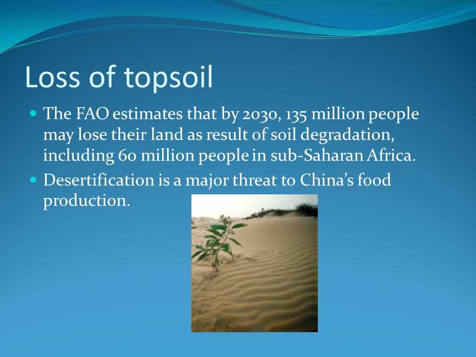 Loss of topsoil The FAO estimates that by 2030, 135 million people may lose their land as result of soil degradation, including 60 million people in sub-Saharan Africa.