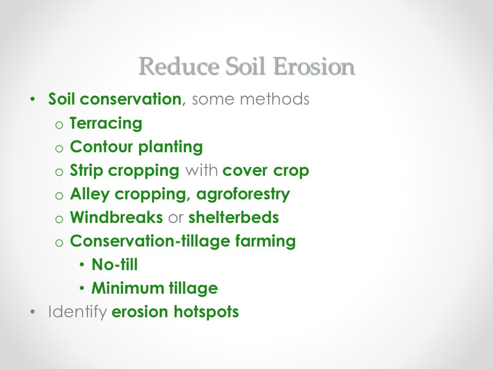 Reduce Soil Erosion Soil conservation, some methods o Terracing o Contour planting o Strip cropping with cover crop o Alley cropping, agroforestry o W