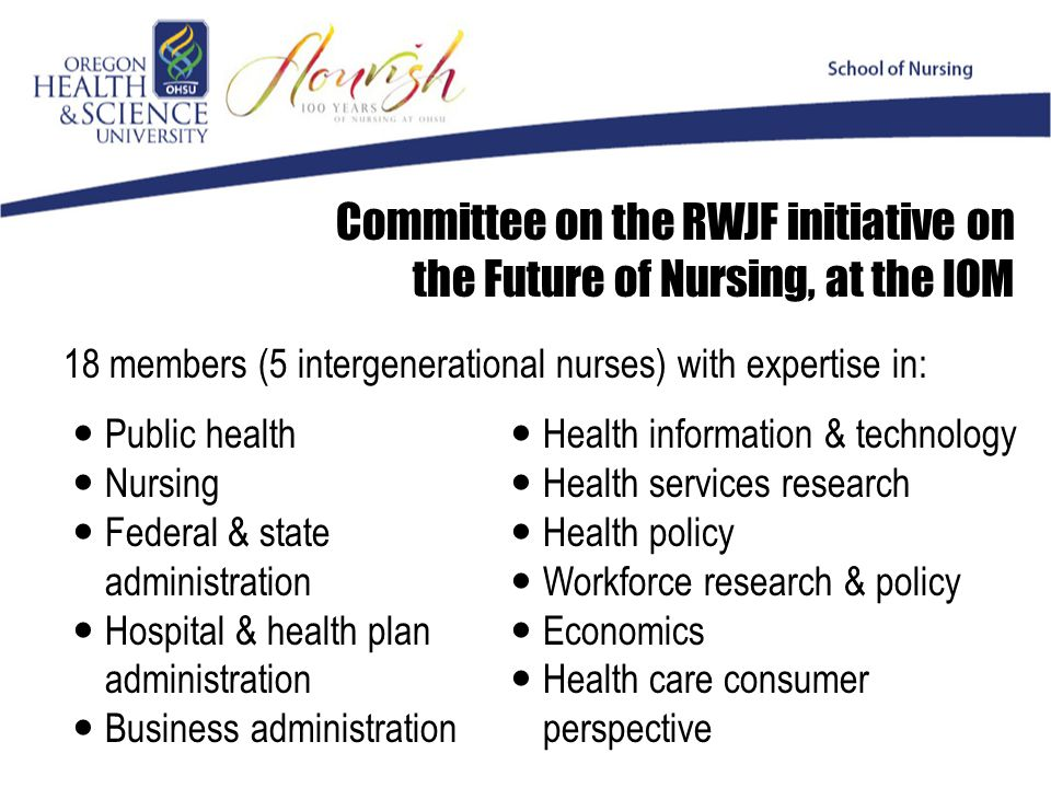 Committee on the RWJF initiative on the Future of Nursing, at the IOM Public health Nursing Federal & state administration Hospital & health plan administration Business administration 18 members (5 intergenerational nurses) with expertise in: Health information & technology Health services research Health policy Workforce research & policy Economics Health care consumer perspective