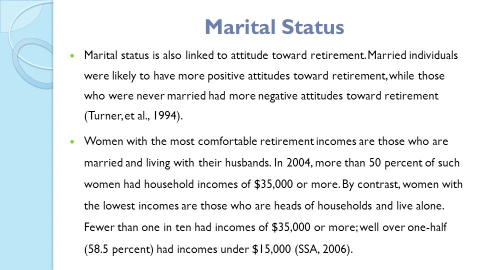 Marital status is also linked to attitude toward retirement.