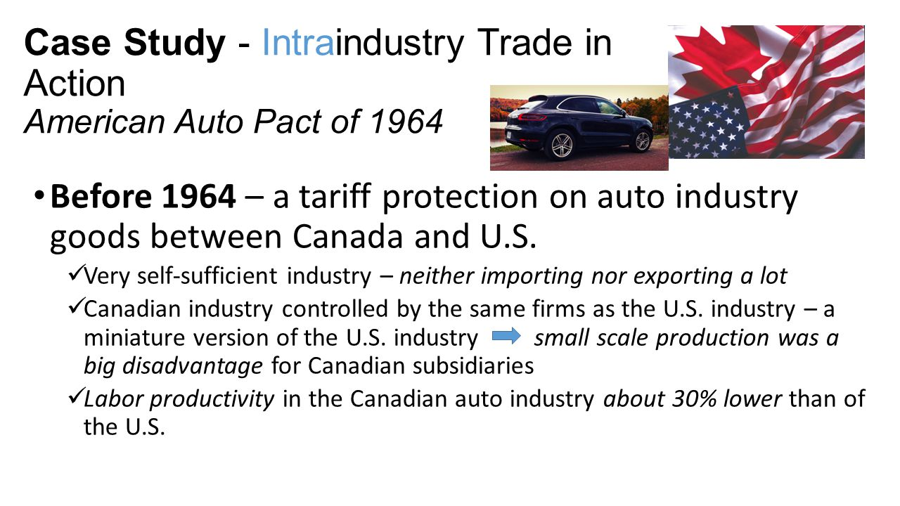 Case Study - Intraindustry Trade in Action American Auto Pact of 1964 Before 1964 – a tariff protection on auto industry goods between Canada and U.S.