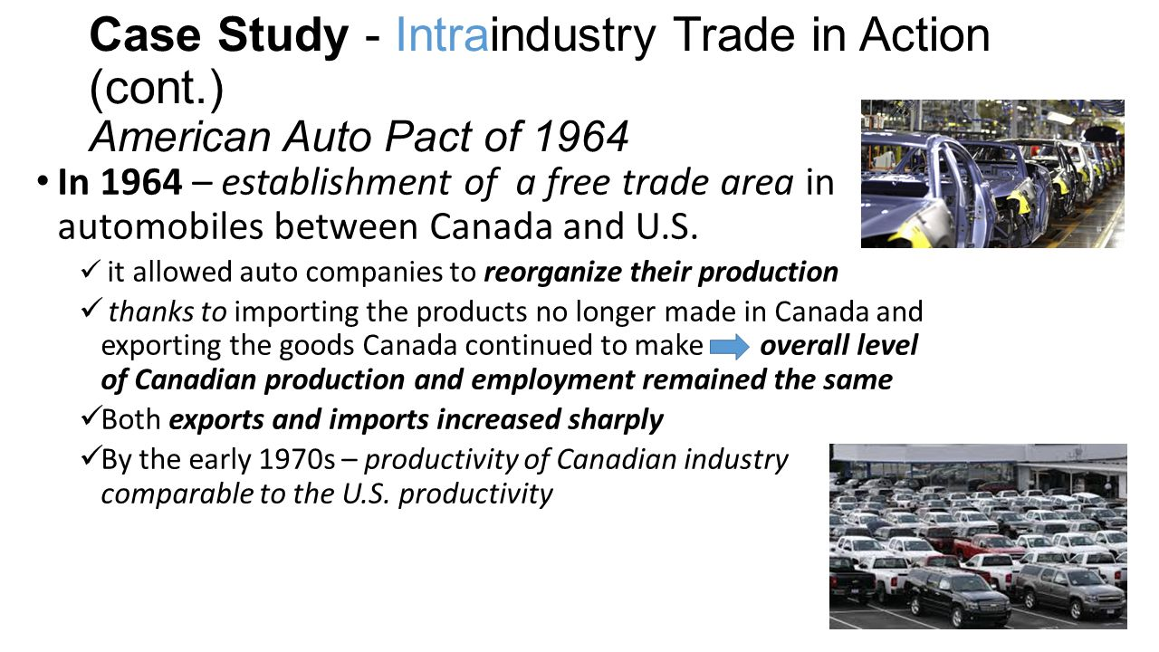 Case Study - Intraindustry Trade in Action (cont.) American Auto Pact of 1964 In 1964 – establishment of a free trade area in automobiles between Canada and U.S.