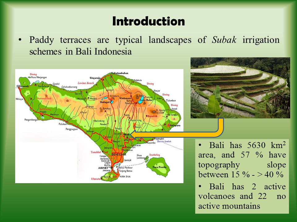 A Subak irrigation scheme, primarily in Bali Indonesia is an irrigation scheme of which the construction, operation and maintenance is based on agreed principles of technology, management of agriculture and religious community Subak irrigation schemes are based on the continuous flow system (tektek/kecoran).