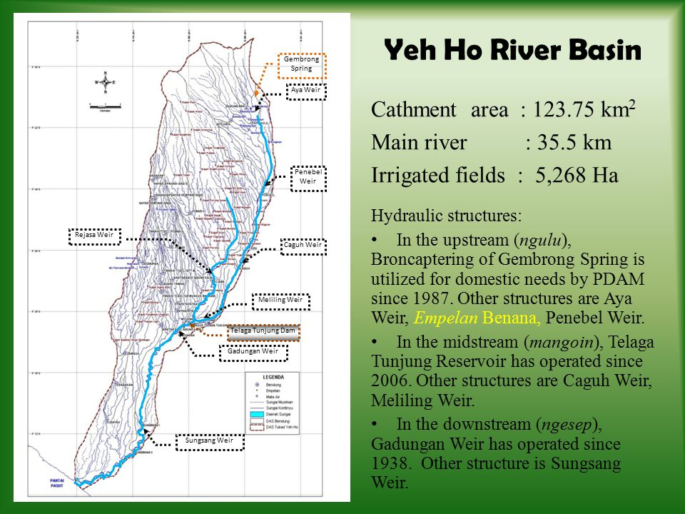 In above analysis, there is the seven weirs, however, only have complete data collected from the year 2002 – 2010.
