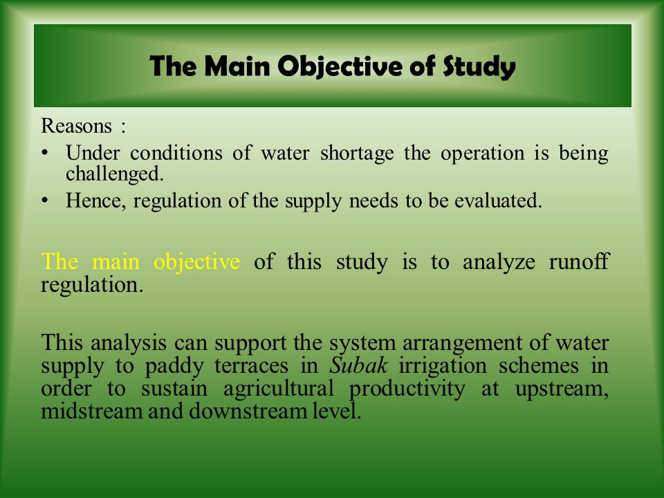 As a result, the source of water in the upstream is extremely important to sustain the river basin system.