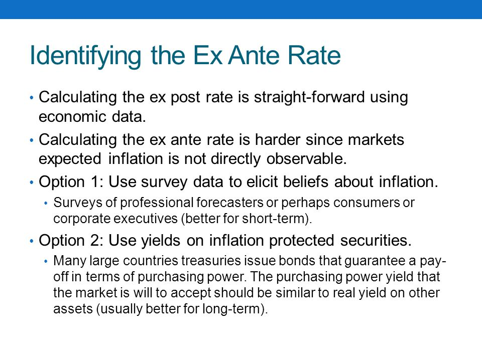 Identifying the Ex Ante Rate Calculating the ex post rate is straight-forward using economic data.