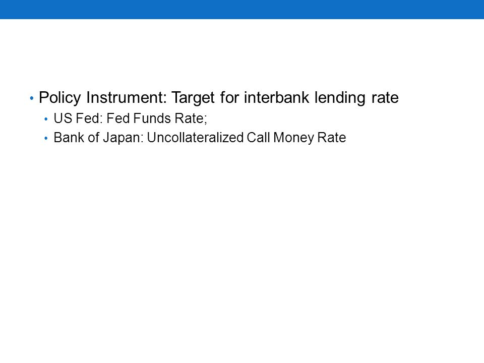Policy Instrument: Target for interbank lending rate US Fed: Fed Funds Rate; Bank of Japan: Uncollateralized Call Money Rate