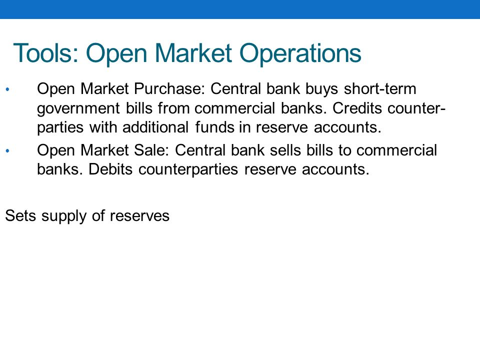 Tools: Open Market Operations Open Market Purchase: Central bank buys short-term government bills from commercial banks.