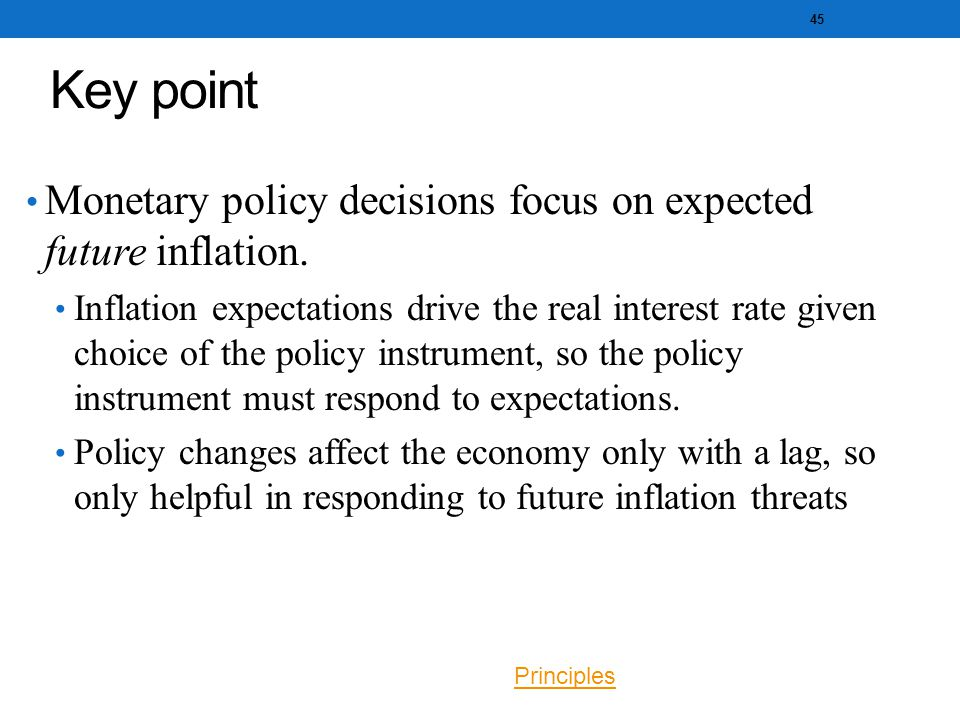 Key point Monetary policy decisions focus on expected future inflation.