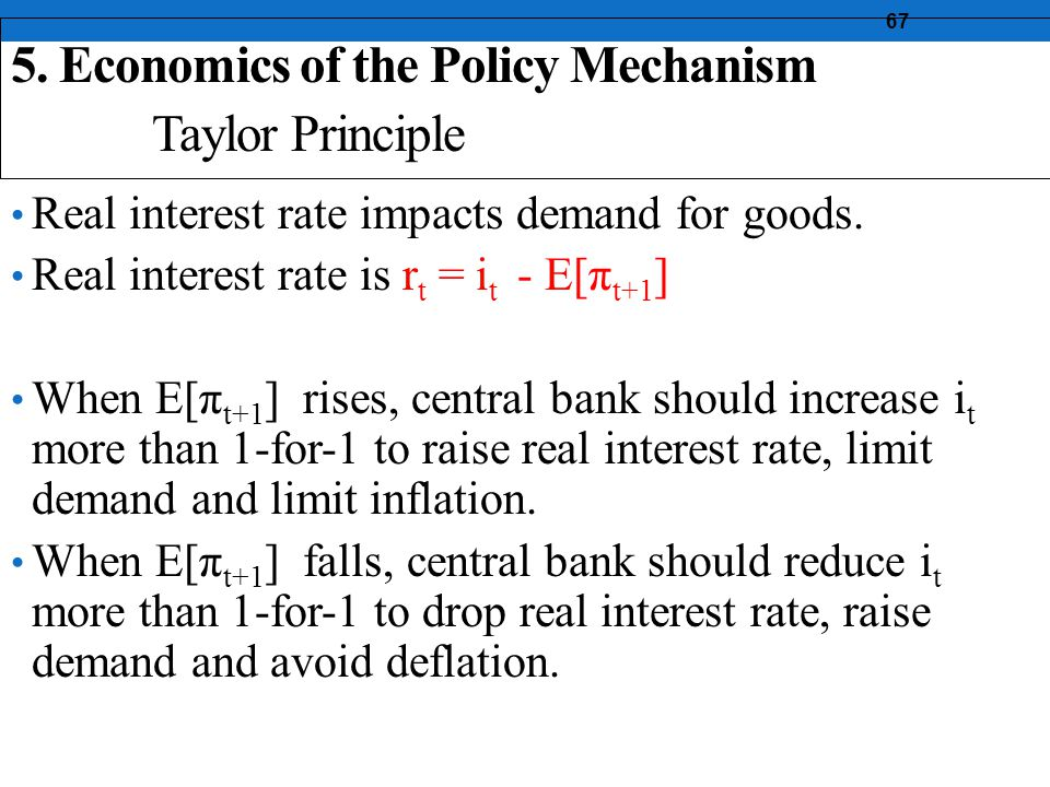 67 Real interest rate impacts demand for goods.