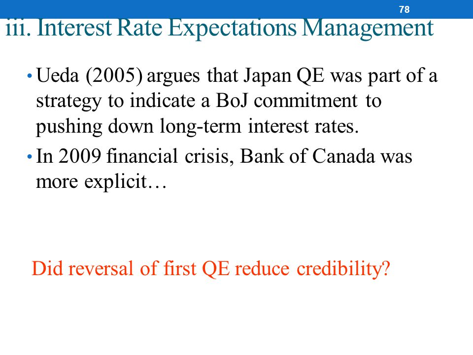 iii. Interest Rate Expectations Management Ueda (2005) argues that Japan QE was part of a strategy to indicate a BoJ commitment to pushing down long-t