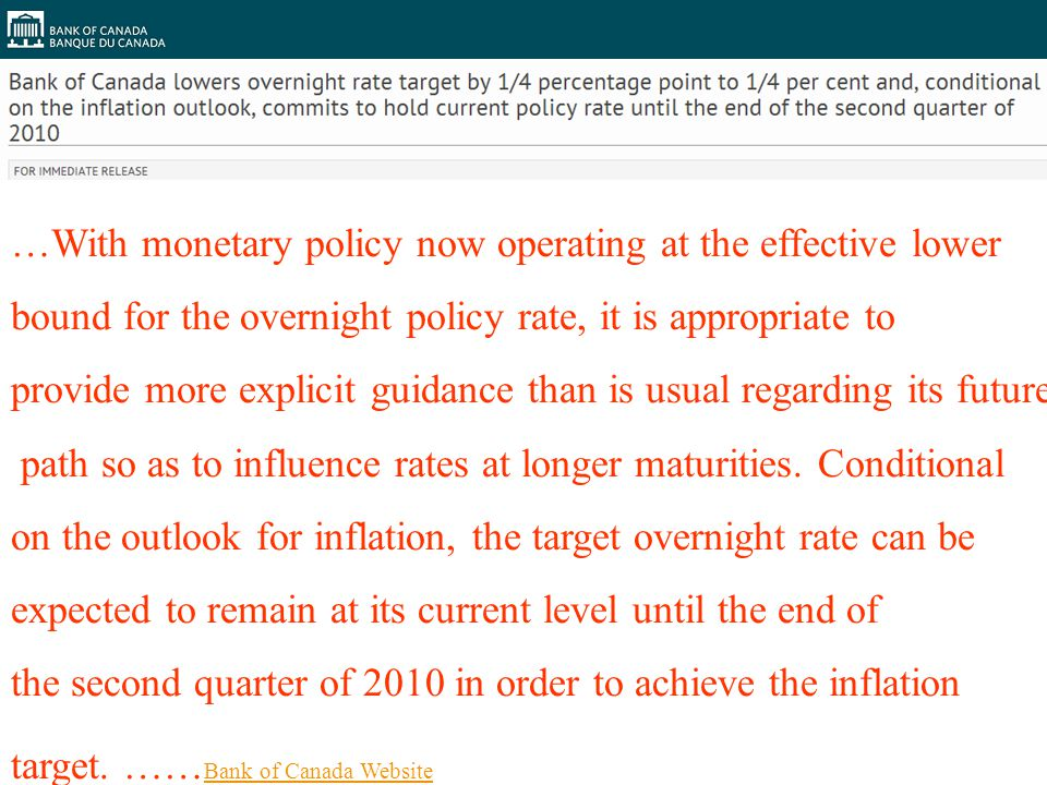 79 …With monetary policy now operating at the effective lower bound for the overnight policy rate, it is appropriate to provide more explicit guidance than is usual regarding its future path so as to influence rates at longer maturities.
