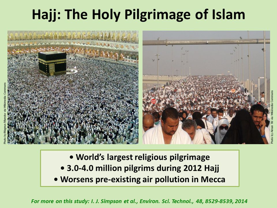 Hajj: The Holy Pilgrimage of Islam World's largest religious pilgrimage 3.0-4.0 million pilgrims during 2012 Hajj Worsens pre-existing air pollution in Mecca For more on this study: I.