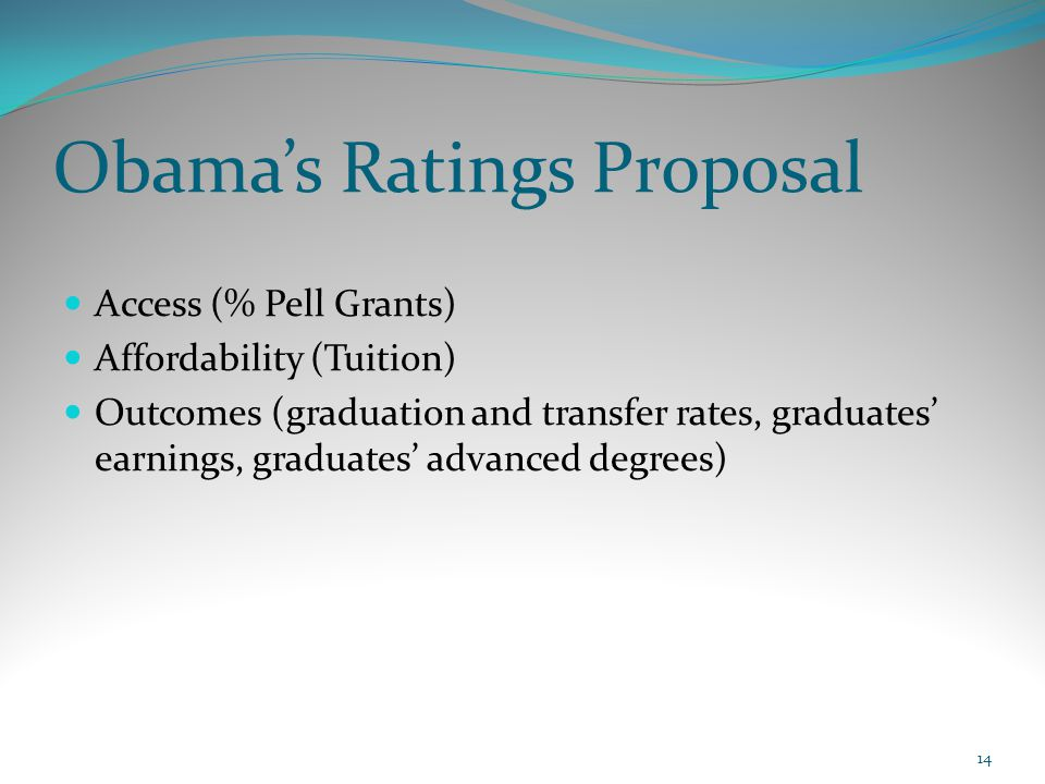 Obama's Ratings Proposal Access (% Pell Grants) Affordability (Tuition) Outcomes (graduation and transfer rates, graduates' earnings, graduates' advan