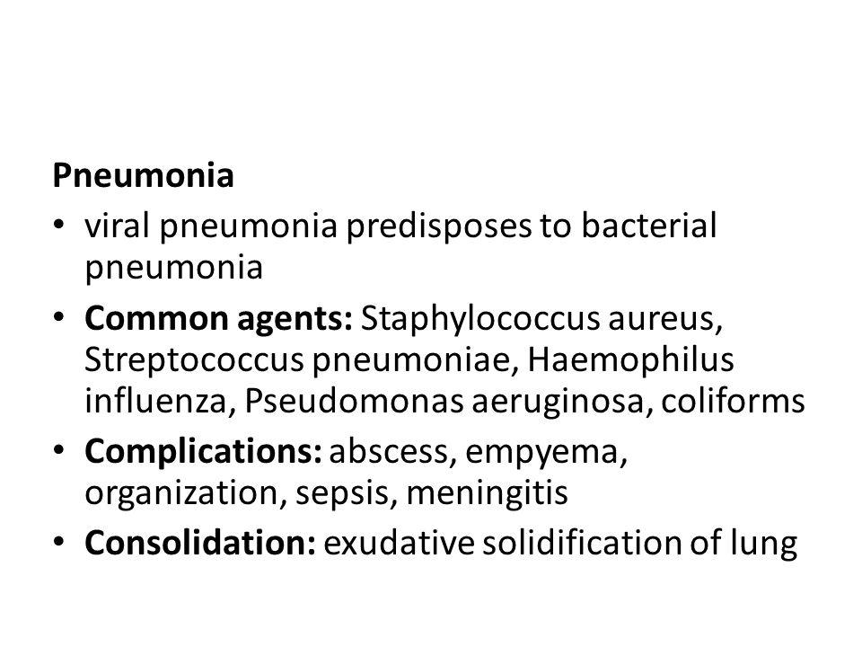 Pneumonia viral pneumonia predisposes to bacterial pneumonia Common agents: Staphylococcus aureus, Streptococcus pneumoniae, Haemophilus influenza, Ps