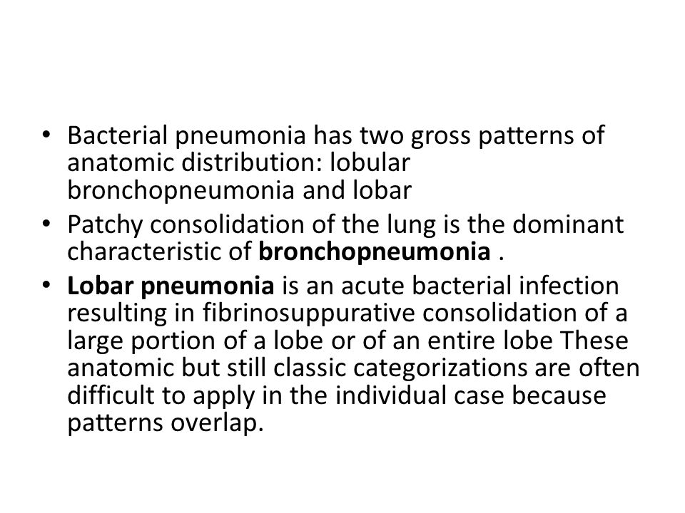 Bacterial pneumonia has two gross patterns of anatomic distribution: lobular bronchopneumonia and lobar Patchy consolidation of the lung is the domina
