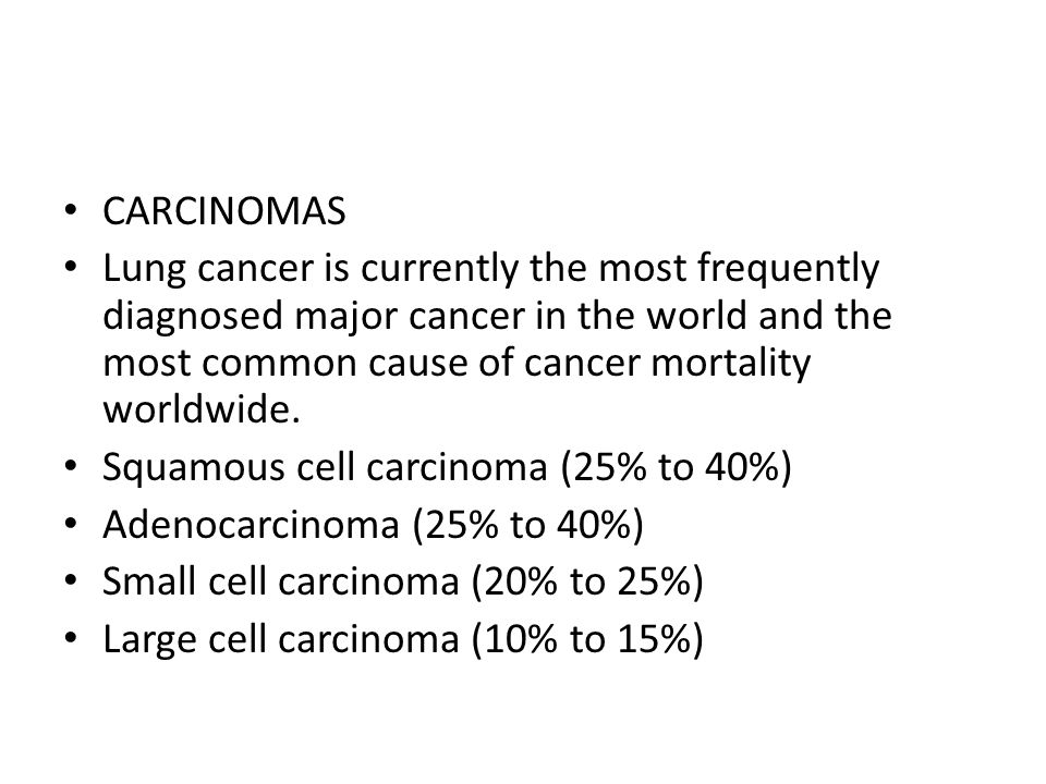 CARCINOMAS Lung cancer is currently the most frequently diagnosed major cancer in the world and the most common cause of cancer mortality worldwide. S