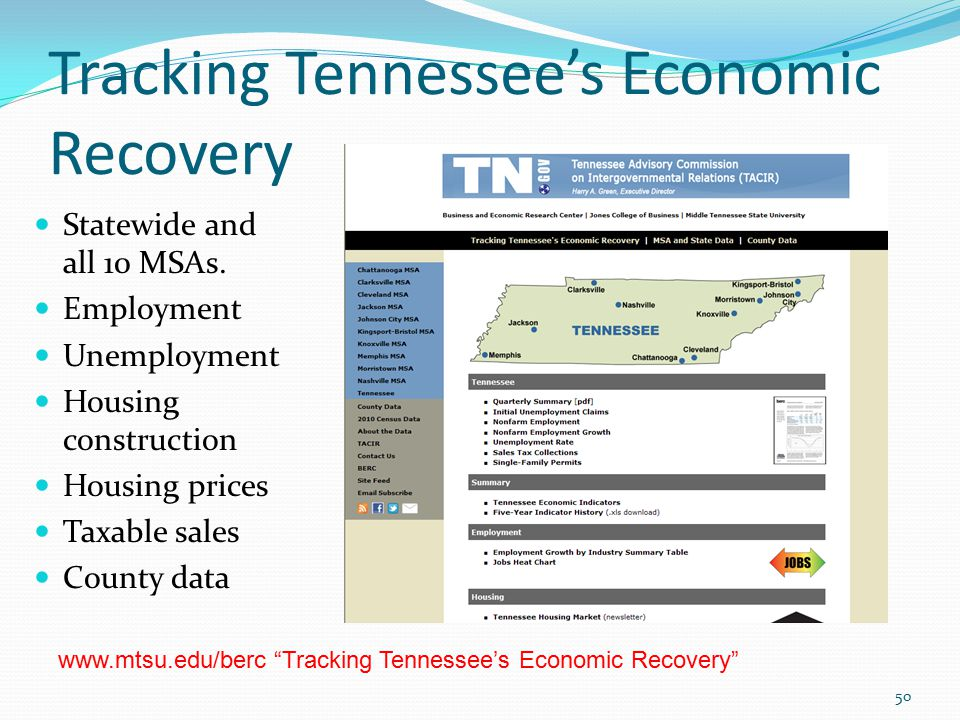 Tracking Tennessee's Economic Recovery 50 Statewide and all 10 MSAs.