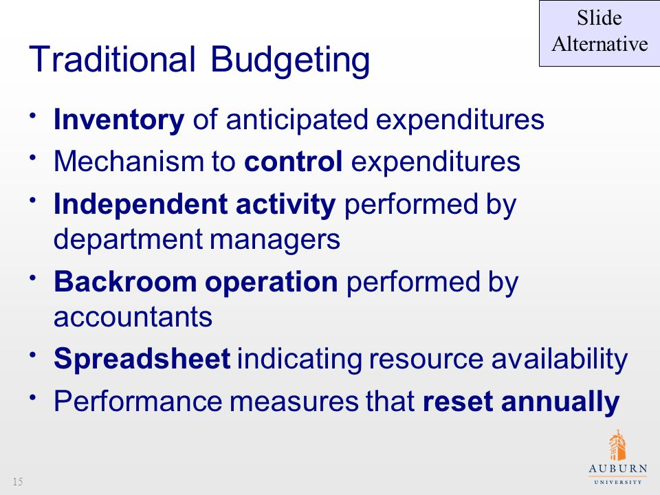 Traditional Budgeting Inventory of anticipated expenditures Mechanism to control expenditures Independent activity performed by department managers Backroom operation performed by accountants Spreadsheet indicating resource availability Performance measures that reset annually Slide Alternative 15