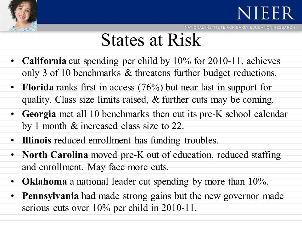 States at Risk California cut spending per child by 10% for 2010-11, achieves only 3 of 10 benchmarks & threatens further budget reductions.