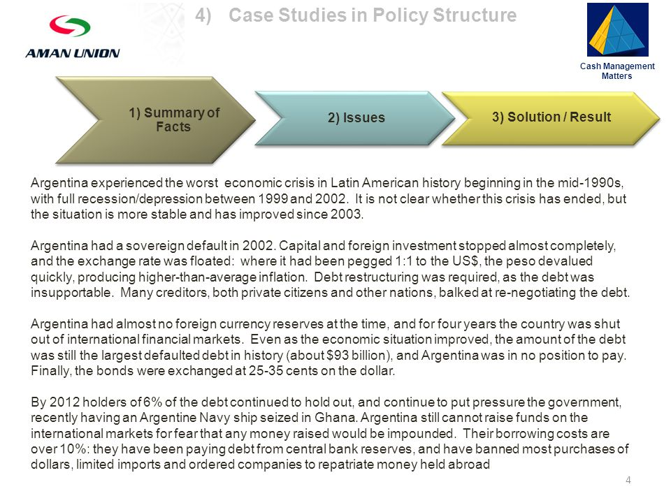 Cash Management Matters 15 1) Summary of Facts 2) Issues 3) Solution / Result An insurer ranked under investment grade may be more of a risk to your capital than a country: the majority of sovereign defaults, for example, are worked out in the end even though it may take several (many) years.