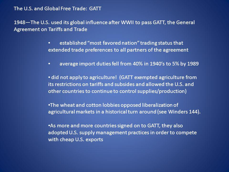 The U.S.and Global Free Trade: GATT 1948—The U.S.