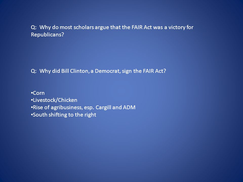 Q: Why do most scholars argue that the FAIR Act was a victory for Republicans.