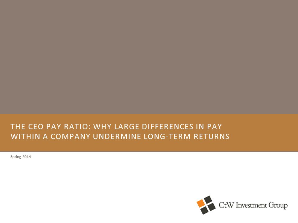 THE CEO PAY RATIO: WHY LARGE DIFFERENCES IN PAY WITHIN A COMPANY UNDERMINE LONG-TERM RETURNS Spring 2014