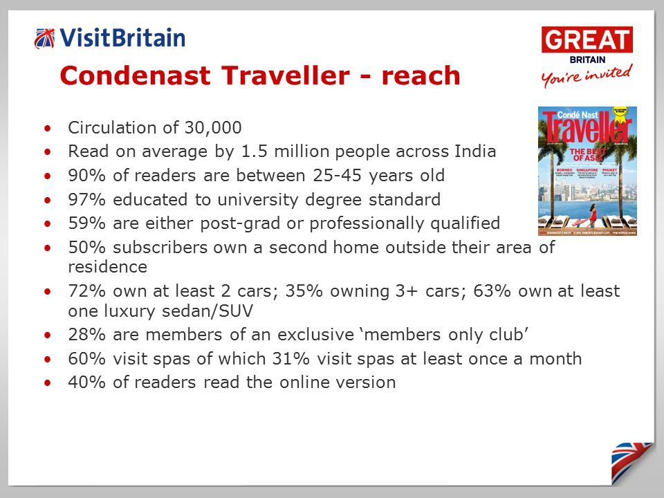 Condenast Traveller - reach Circulation of 30,000 Read on average by 1.5 million people across India 90% of readers are between 25-45 years old 97% educated to university degree standard 59% are either post-grad or professionally qualified 50% subscribers own a second home outside their area of residence 72% own at least 2 cars; 35% owning 3+ cars; 63% own at least one luxury sedan/SUV 28% are members of an exclusive 'members only club' 60% visit spas of which 31% visit spas at least once a month 40% of readers read the online version