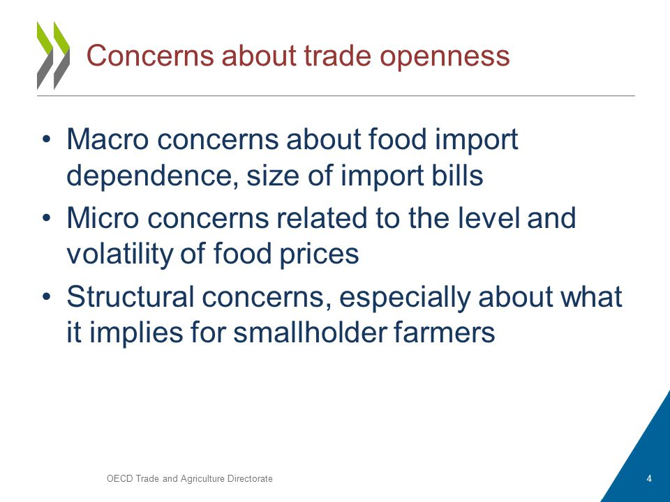 Concerns about trade openness Macro concerns about food import dependence, size of import bills Micro concerns related to the level and volatility of food prices Structural concerns, especially about what it implies for smallholder farmers OECD Trade and Agriculture Directorate4