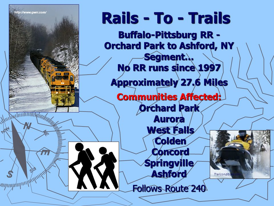 Rails - To - Trails Buffalo-Pittsburg RR - Orchard Park to Ashford, NY Segment… No RR runs since 1997 Approximately 27.6 Miles Communities Affected: Orchard Park Aurora West Falls West Falls Colden Colden Concord ConcordSpringvilleAshford Follows Route 240 Trailconditions.com http://www.gwrr.com/