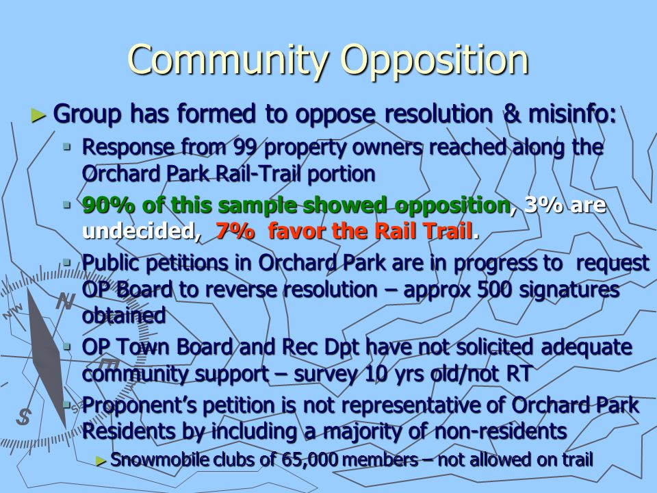 What Can You Do ► Send Letter to OP Town Board ► Send Letter to State ► Attend OP Town Board Meetings When Needed  Provide Email Address or Phone for Dates  Need to Show Opposition ► Write Editorials to Bee and OP Press ► Support Town Ordinance for Trail Guidelines ► See Handouts Provided for Letters and Contact Info.