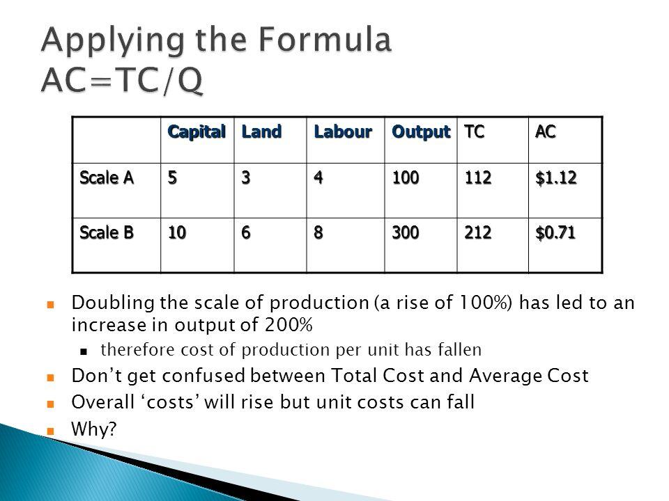  Cost elasticity is ε C = ∂C/C ÷ ∂Q/Q. ε C < 1 means falling AC, increasing returns.