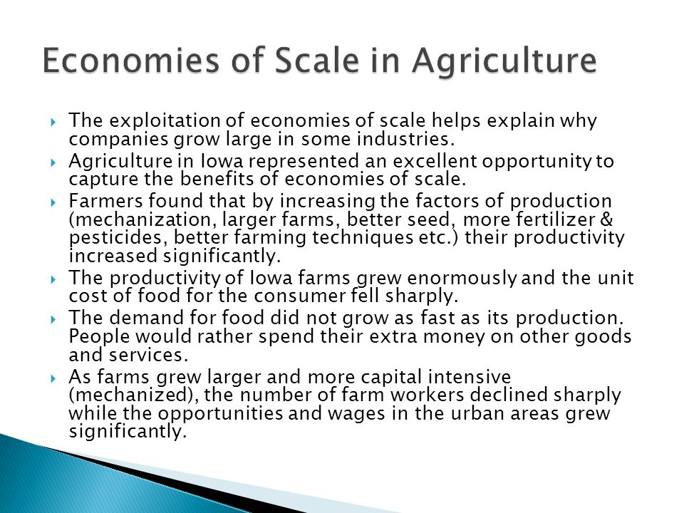  The exploitation of economies of scale helps explain why companies grow large in some industries.  Agriculture in Iowa represented an excellent opp