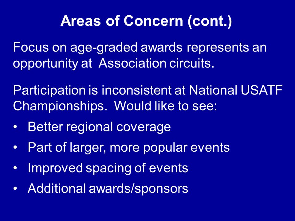 Areas of Concern (cont.) Focus on age-graded awards represents an opportunity at Association circuits.