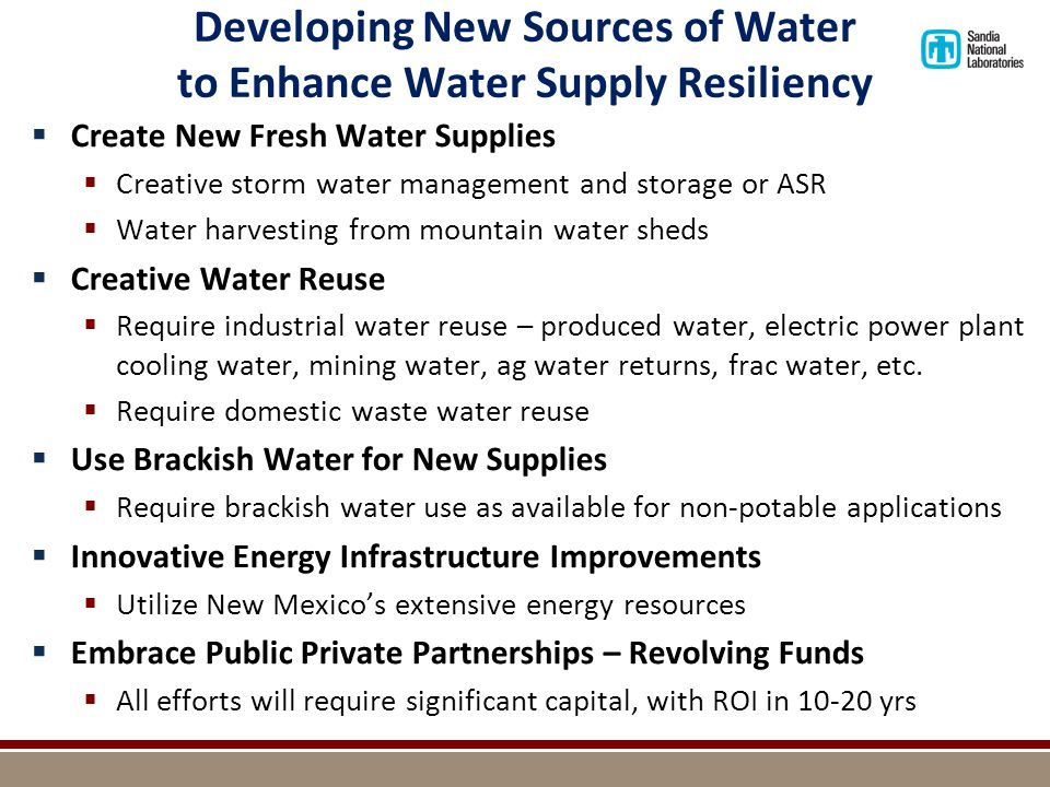 Rio Grande Reservoir Supply through 2100 Traditional Water Storage Approaches Could be Ineffective - Could Require New Water Storage Approaches – different types of dams, different storage locations, different types of storage